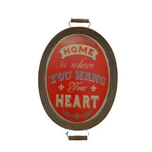 vassoio decorativo ovale stampa rossa industrial