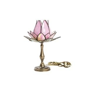 lampada tavolo tiffany fior loto rosa