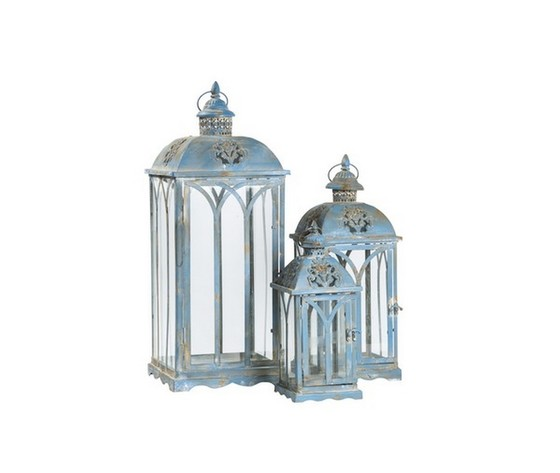 3 lanterne azzurre in ferro