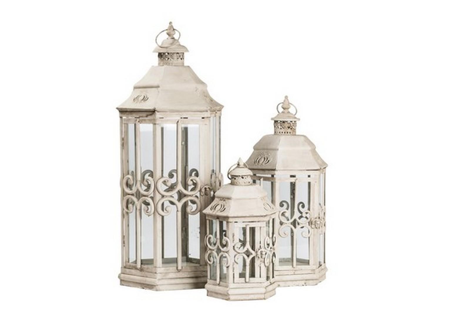 Tris di tre lanterne in ferro bianche way home store - Lanterne esterno ...