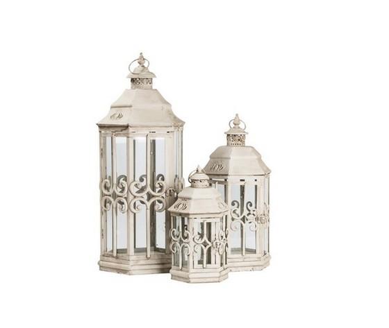 3 lanterne bianche in ferro