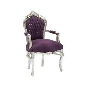 poltrona barocco argento e viola
