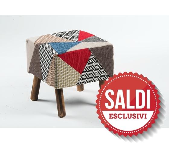 pouf quadrato tessuto patchwork industrial SALDI