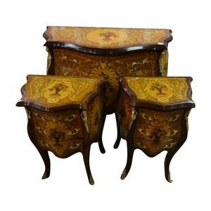 trittico comò comodini legno intarsiato anticato