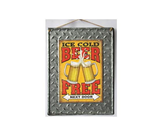 Targa pannello metallo Rettangolare Ice Cold Beer Free