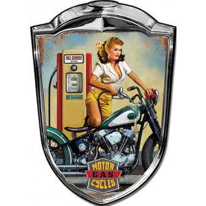 Targa pannello metallo Scudetto Motor Gasoline