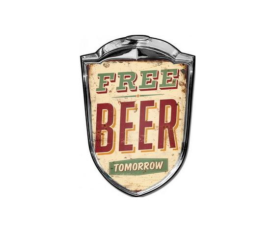 Targa pannello metallo Scudetto Free Beer