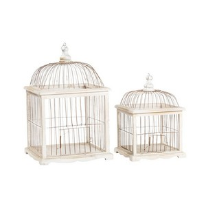 Set di due gabbie in legno bianco