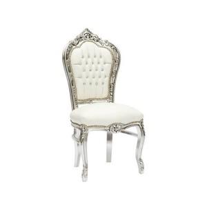sedia barocco argento e bianca
