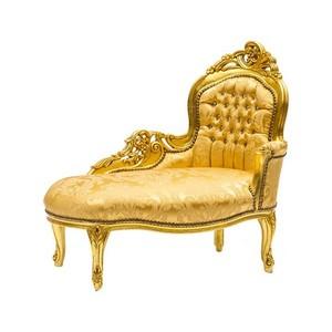 dormeuse barocco legno e tessuto oro