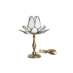 lampada da tavolo stile tiffany fior di loto bianco
