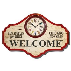 orologio da parete legno stampa welcome