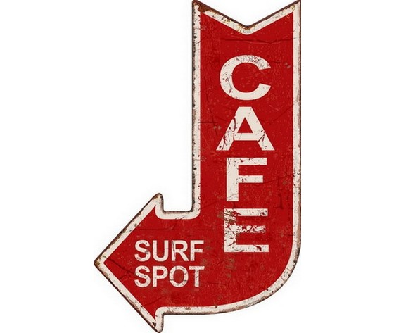 targa appendere metallo cafe surf spot