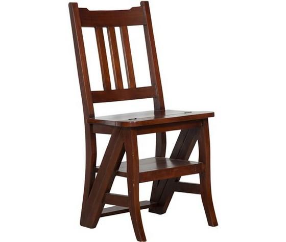 sedia a scala legno noce