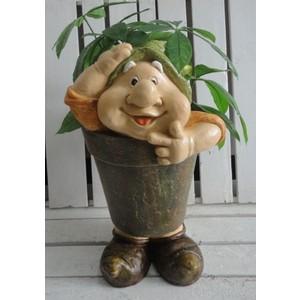 porta piante gnomo da giardino verde