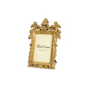 portafoto resina barocco oro rettangolare angeli foglie