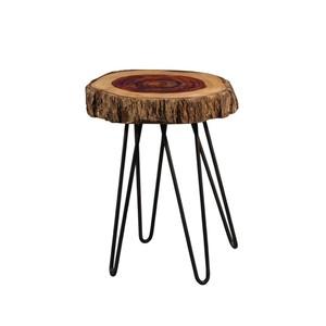 tavolino tronco legno rotondo industrial