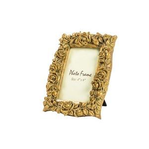 portafoto resina barocco oro rose