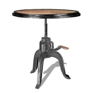 tavolino rotondo ferro legno regolabile manovella