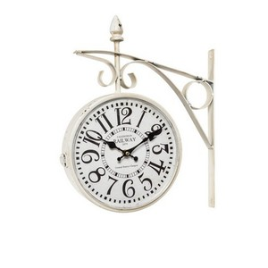 orologio da parete stile stazione anticato in ferro bianco
