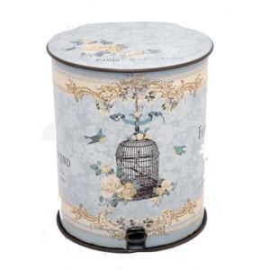 cestino con pedale stampa uccellini