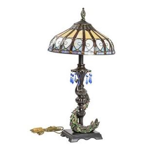 Lampada da tavolo stile tiffany  pavone