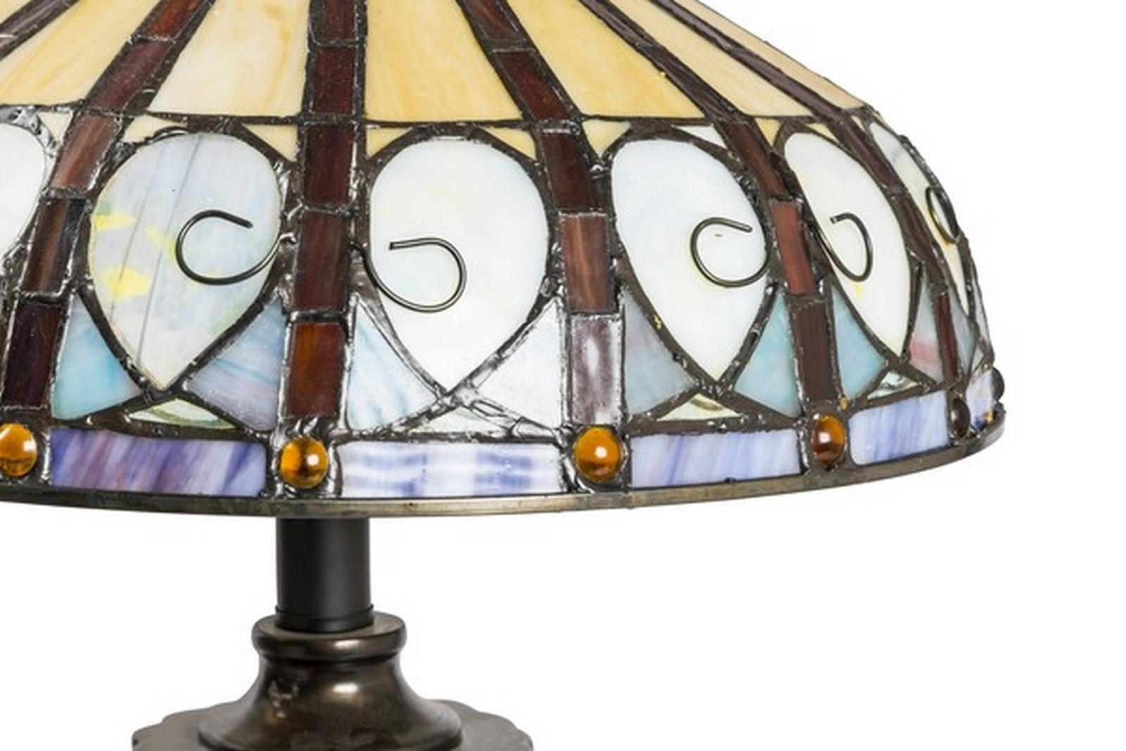 Lampada stile tiffany da tavolo pavone way home store