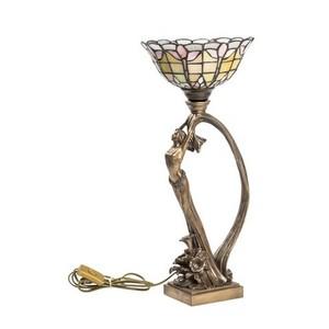 Lampada da tavolo stile tiffany  donna e pavone