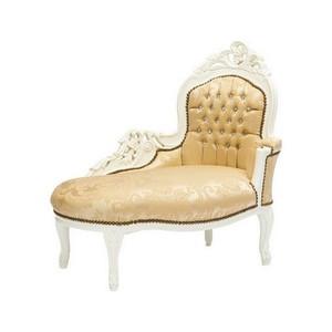 dormeuse barocco legno e tessuto bianco e oro