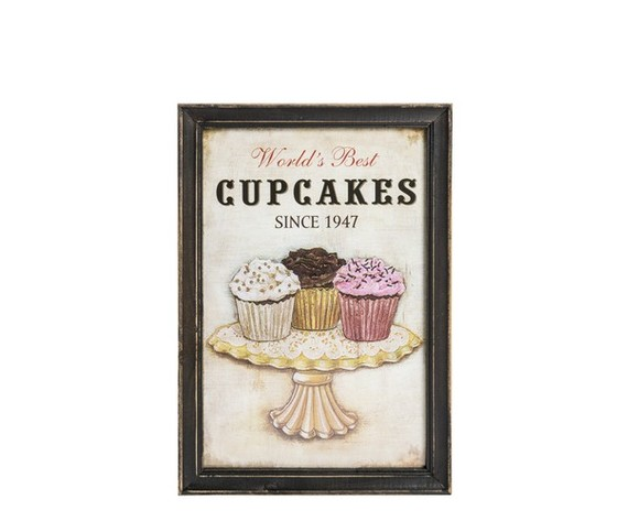 quadro decorativo shabby chic cupcakes