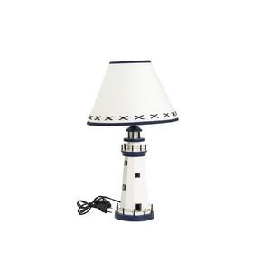 lampada da tavolo con faro bianco e blu