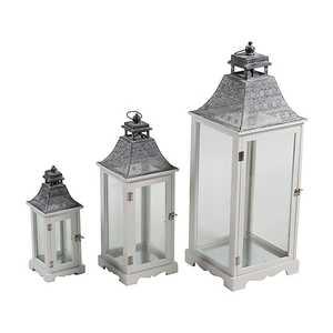 set 3 lanterne legno e metallo grigio