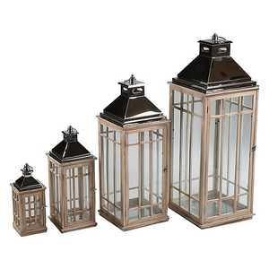set 4 lanterne legno naturale e metallo