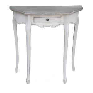 tavolino legno bianco mezzaluna shabby chic 80 cm