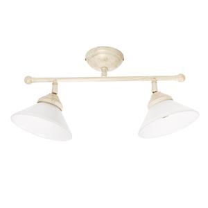 plafoniera in ottone 2 luci bianco