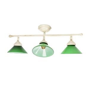 plafoniera in ottone 3 luci verde
