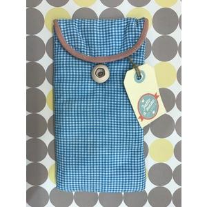 Astuccio per occhiali in tessuto Vichy azzurro - Hand Made in Italy