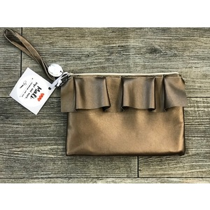 Pochette ecopelle  bronzo con rouches - Hand made in Italy
