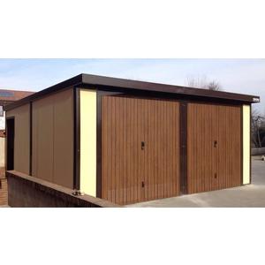 Prefabbricato in pannelli coibentati verniciato esternamente, con serramenti in alluminio e portoni basculanti effetto legno