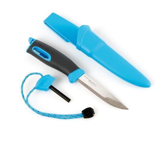 light my fire lmf fk bk coltello sportivo colore azzurro a lama fissa con alloggio per accendifuoco firesteel