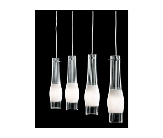 Ondaluce sospensione Narciso 4 luci in vetro trasparente con banda bianca, cavi regolabili
