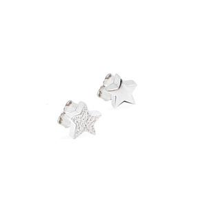 Orecchini bottone, Stella 3D con zirconi e liscia - JACK&CO