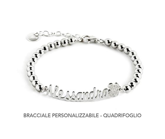 Bracciale  personalizzabile Quadrifoglio con zirconi - JACK&CO