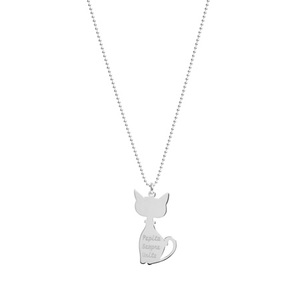 Collana, charm Micio incisione - JACK&CO
