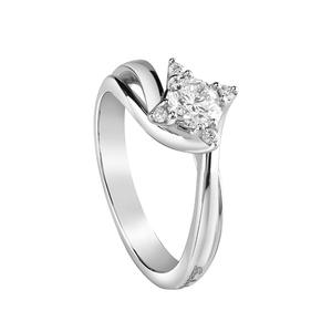 Solitario in oro bianco con diamanti