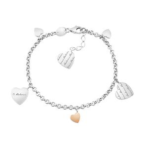Bracciale in argento e ciondolo cuore oro rosa 9 KT con diamante