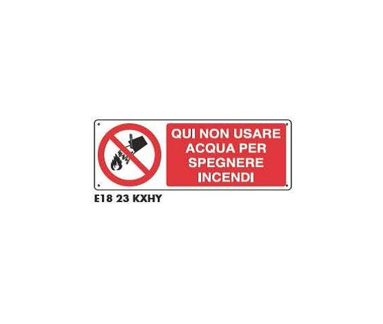 Cartello di divieto - Non usare acqua per spegnere incendi