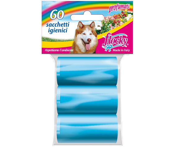 Flocky Shopper Igienici Professionali Cani Foro Strappo Azzurro 20X3 Rotoli