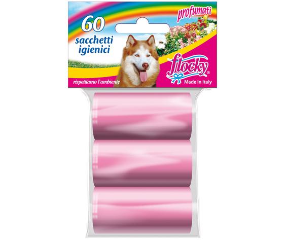 Flocky Shopper Igienici Professionali Cani Foro Strappo Rosa 20X3 Rotoli