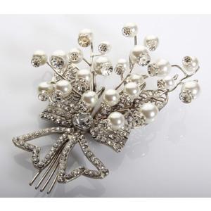 spilla mazzolino mughetto argentata perle strass